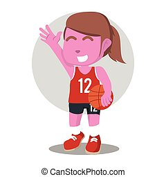 pink female basketball player illustration design
