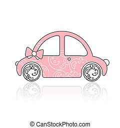 Pink female car with floral ornament for your design