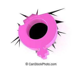 Pink female gender symbol