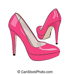 Pink female shoes on a white background. Vector illustration.