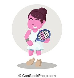 pink female tennis player