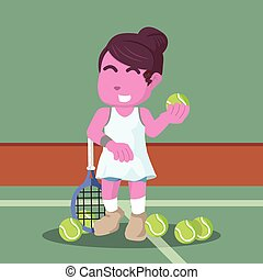 pink female tennis player in training