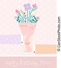 Pink festive background with bouque