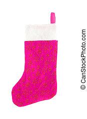 christmas stocking - pink festive christmas stocking with...