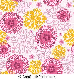 Pink field flowers seamless pattern background