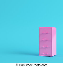 Pink filing cabinet on bright blue background in pastel colors