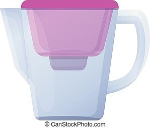 Pink filter water jug icon, cartoon style - Pink filter ...