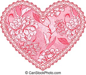 Pink fine lace heart with floral pattern. Design element for wed