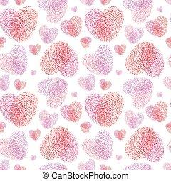 Pink fingerprint texture hearts seamless pattern.
