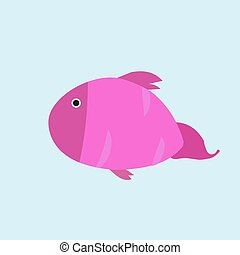 Pink fish, illustration, vector on white background.