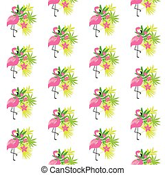 Pink flamingo and tropical plants