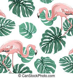 Pink flamingo birds green monstera leaves pattern