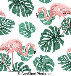 Pink flamingo birds green monstera leaves pattern - Pink...