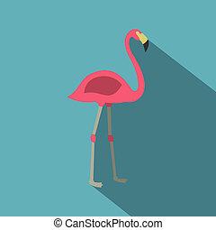 Pink flamingo icon, flat style