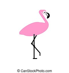 Pink flamingo isolated. Bird with long legs. Vector...