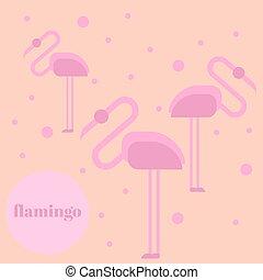 Pink flamingo isolated on background. Exotic bird. Cool flamingo decorative flat design element. Wildlife zoo cute cartoon bird.