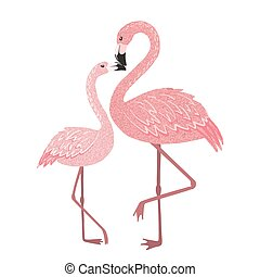 Pink flamingo mom with baby isolated on white.