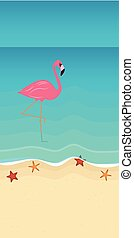 pink flamingo on the beach in turquoise water