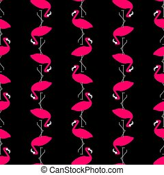 Pink flamingo pattern seamless. Birds background. Bird with...