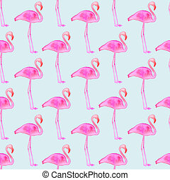 Pink flamingo. Seamless pattern with exotic birds. Hand-drawn original animal background.
