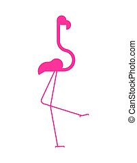Pink flamingo sign icon. Bird long legs and neck.