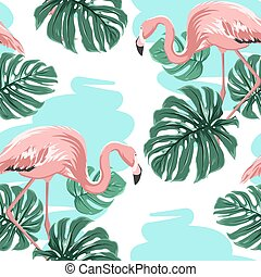 Pink flamingos, blue lake, monstera leaves pattern - Pink...
