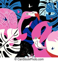 Pink flamingos in the tropical jungle