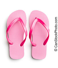 Pink flip flops. - Pink flip flops isolated on white...