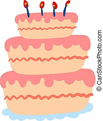 Pink floor cake, illustration, vector on white background.