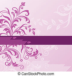 Pink floral background with banner. This image is a vector illustration.