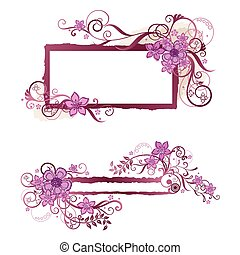 Pink floral frame and banner design. This image is a vector illustration