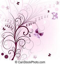 Pink floral frame (vector)