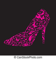 pink floral high heel