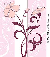 Pink floral invitation card
