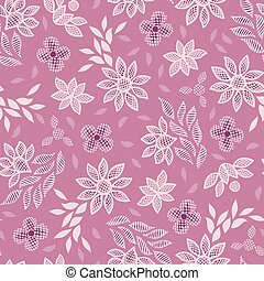 Pink floral lace embroidery seamless vector pattern background