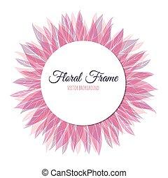 Pink floral round frame