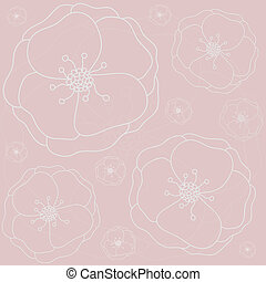 Pink floral seamless pattern. Vector.