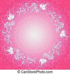 Pink floral spring lacy frame