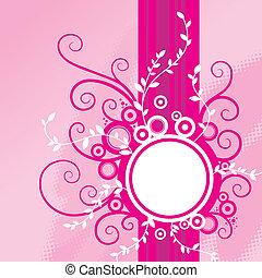 Pink floral vector frame