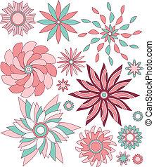 Pink floral vector ornaments
