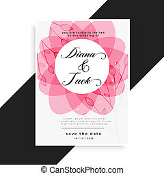 pink floral wedding card design