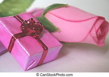 pink flower and gift