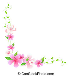 pink flower with green vines on the white background