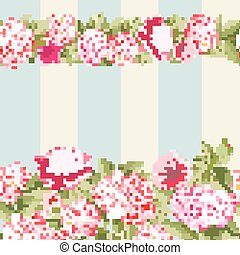 Pink flower border with tile.