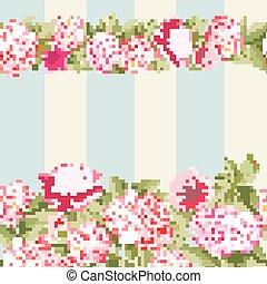 Pink flower border with tile.