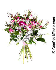 Pink flower bouquet arrangement centerpiece on white
