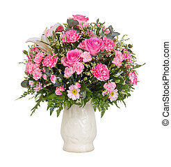 Pink flower bouquet - Close up pink color carnation roses ...