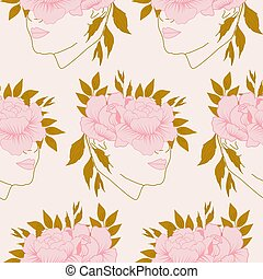 pink flower composition and woman face in a seamless pattern design