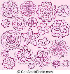Pink Flower Doodles Vector Design