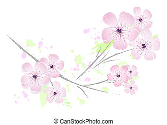 Pink flower - floral design - Delicate pink-colored cherry...